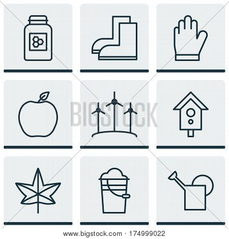 Set Of 9 Farm Icons. Includes Protection Mitt, Bucket, Autumn Plant And Other Symbols. Beautiful Design Elements.