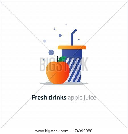 Fresh apple juice, blue tumbler glass with stripes, fruit smoothie, refreshing drink, vector flat design illustration