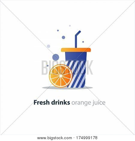 Fresh orange juice, blue tumbler glass with stripes, fruit smoothie, refreshing drink, vector flat design illustration