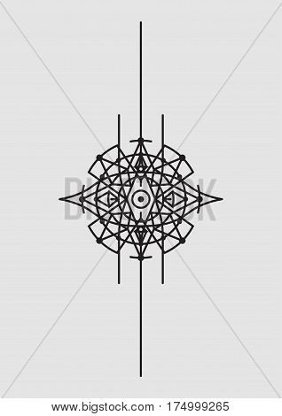 Abstract Geometric Vector Illustration Mandala Dreamcatcher - Dark Elements on Grey Background