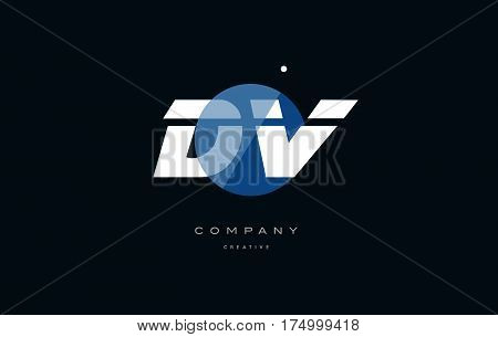Dv D V  Blue White Circle Big Font Alphabet Company Letter Logo