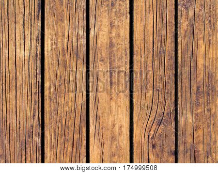 Brown wood texture with vertical lines. Warm brown wooden background for natural banner. Timber texture closeup. Vertical wooden planks of floor backdrop photo. Natural material for banner template