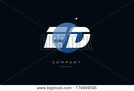 Ed E D  Blue White Circle Big Font Alphabet Company Letter Logo
