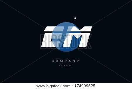 Em E M  Blue White Circle Big Font Alphabet Company Letter Logo