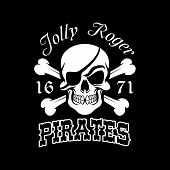 Pirate skull and crossbones symbol. Jolly Roger with eye patch for pirate flag, danger for life sign, Halloween and piracy themes design poster