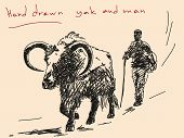 Hand drawn yak and man Vector. Visit my portfolio for big collection of doodles poster