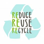 Reduce, reuse, recycle. Vector hand drawn recycling sign poster