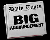 Big Announcement News Story Headline Newspaper 3d Illustration poster
