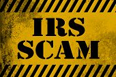 IRS scam sign yellow with stripes 3D rendering poster