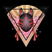 Graphic deamon fox mask with sacura flowers and golden hand fan on background. Sacred triangular design. Traditional attribute of japanese folklore poster