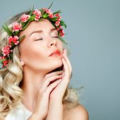 Relaxing Spa Model Blonde Woman with Healty Clean Skin and Flowers. Antiaging and Cosmetology poster