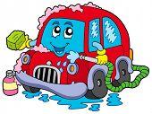 Cartoon car wash - vector illustration. poster