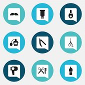 Set Of 9 Editable Coiffeur Icons. Includes Symbols Such As Vial, Scent, Scrub And More. Can Be Used For Web, Mobile, UI And Infographic Design. poster