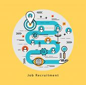 Line flat business design and infographic elements for job candidate evaluation and interview, assessment and recruiting, resources management and hiring, career and employment concept poster