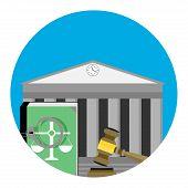 Legal punishment icon vector. Verdict guilt judgement and tribunal illustration poster