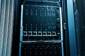 Blade server close-up in series of mainframes in data center poster