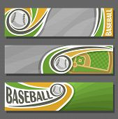 Vector horizontal Banners for Baseball: 3 cartoon covers for title text on baseball theme, sports field with diamond base and flying ball, abstract headers banner for advertising on grey background. poster