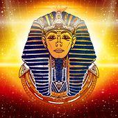 Gold Pharaoh ancient Egypt esoteric background. Egypt pharaoh Tutankhamen golden mask. Egyptian god ethnic style vector poster
