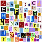 Alphabet Magazine Letters isolated so you can make your own unique words. TIFF file has individual layers. poster