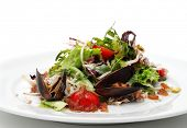 Seafood Salad with Crabmeat and Mussels. Isolated on White Background poster