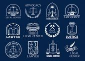 Law firm, legal center and lawyer office badge set. Justice heraldic symbols with scales, sword, law book and judge mallet, framed by laurel wreath and shield. Advocacy, attorney services design poster