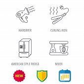 Curling iron, hair dryer and blender icons. American style fridge linear sign. Shield protection, calendar and new tag web icons. Vector poster