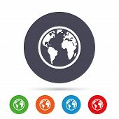 Globe sign icon. World map geography symbol. Round colourful buttons with flat icons. Vector poster