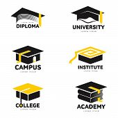 Set of graphic, black and white square academic, graduation cap logo templates, vector illustration isolated on white background. Stylized graphic graduation cap logotype, logo design poster