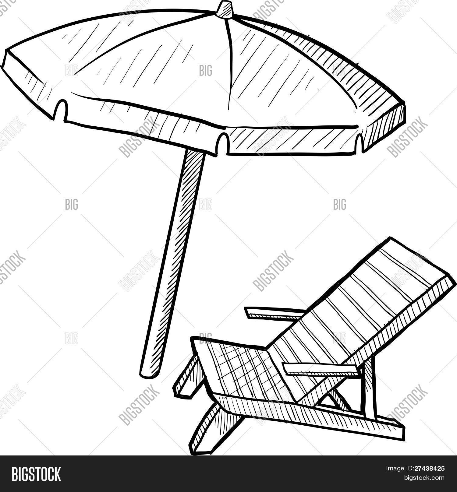 Beach chair umbrella vector photo free trial bigstock beach chair and umbrella sketch altavistaventures Images