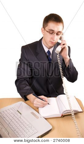Businessman Talking On A Telephone Isolated