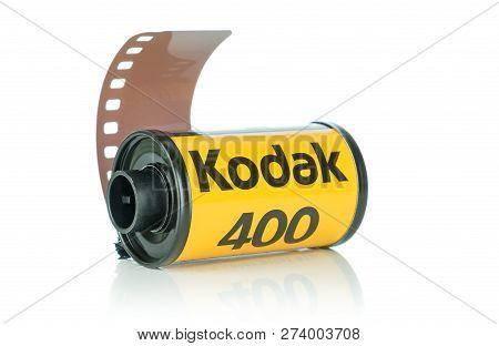 NIEDERSACHSEN, GERMANY DECEMBER 14, 2018: A roll of Kodak Ultramax 400 35mm camera film on a white b