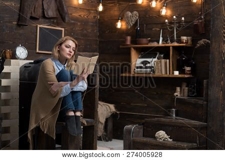 Reading Is My Hobby. Pretty Woman Read A Book. Woman Student Enjoy Reading Literacy. Student Get Kno