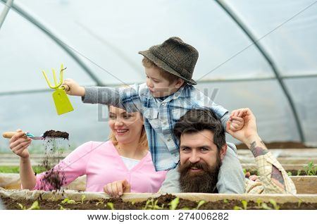 Child Development. Child Development In Happy Gardener Family. Child Development Concept. Child Deve