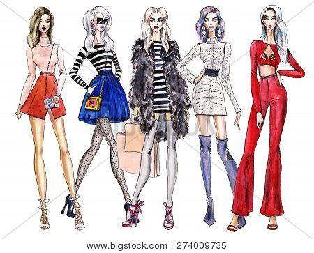 Illustration Fashionable Girls. Shopping. Fashion Illustration. Fashion Banner. Collage. Art Sketch