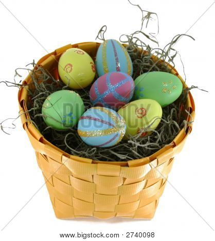 Easter Eggs In Yellow Basket