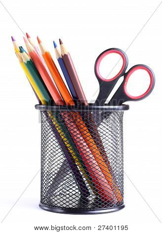 Pencils And Scissors In The Container