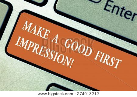 Writing Note Showing Make A Good First Impression. Business Photo Showcasing Introduce Yourself In A
