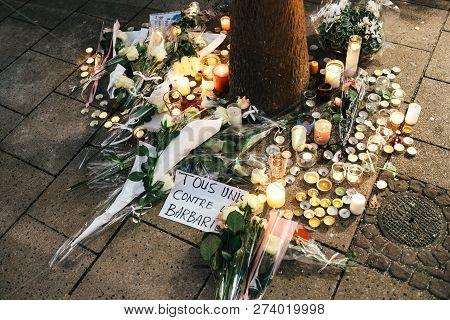 Strasbourg, France - Dec 13, 2018: All United Against Barbarism Message On Rue Des Orfevres Vigil Wi