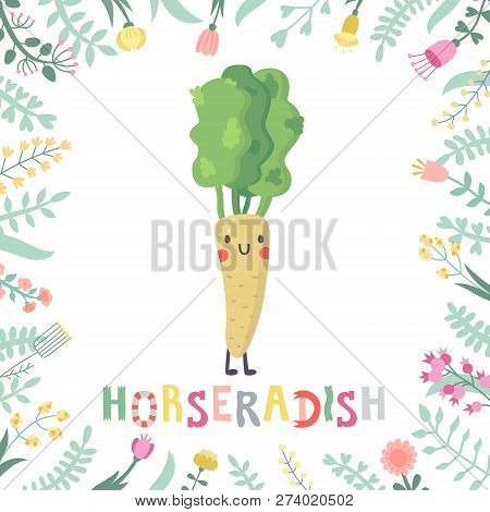 Cute Cartoon Horseradish Illustration With Flowers And Lettering. Funny Character In Nice Colors.