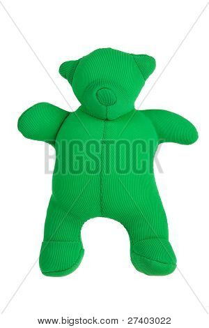 Rag teddy bear on a white background poster