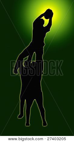 Green Glow Sport Silhouette - Rugby Players Supporting Lineout Jumper