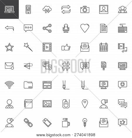 Blog And Blogging Outline Icons Set. Linear Style Symbols Collection, Line Signs Pack. Vector Graphi