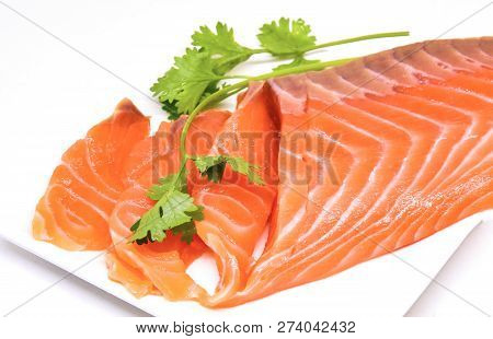 Salmon Fish Isolated On White Plate Fresh Raw Salmon Fillet With Coriander