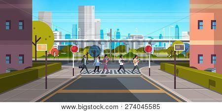 Mix Race People Going Crosswalk Modern City Street Skyscraper Downtown Road Urban Cityscape Backgrou