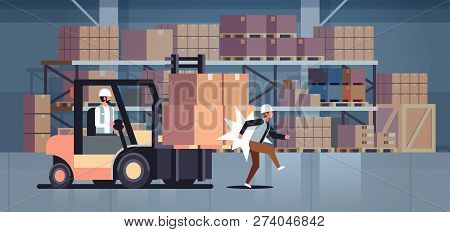 Forklift Driver Hitting Colleague Factory Accident Concept Warehouse Logistic Transport Driver Dange