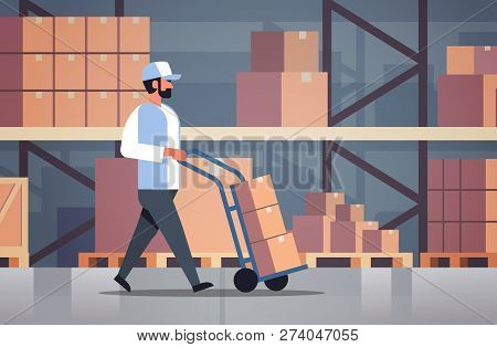 Delivery Man Rolling Cardboard Box Cargo Trolley Pushcart Courier Carrying Parcels On Hand Truck War