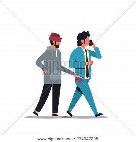 Criminal Male Thief Pickpocket Stealing A Wallet From Pocket Phone Calling Busy Businessman Danger B