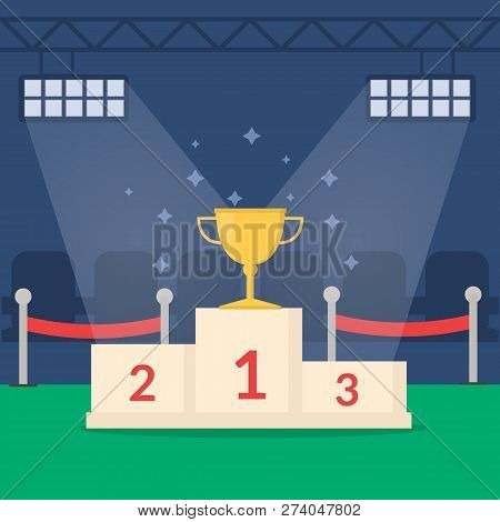 Golden Winners Cup On Pedestal. Trophy On Top Step Of Prize Podium. Flat Style Illustration
