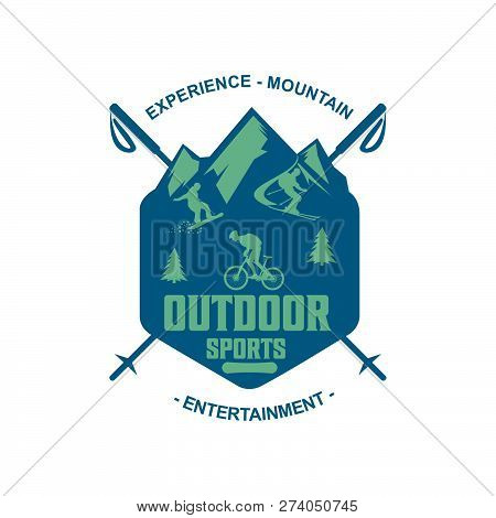 Outdoor Sports And Adventure Or Mountain Camp And Outdoor Hiking Club Badge Design. Vector Isolated
