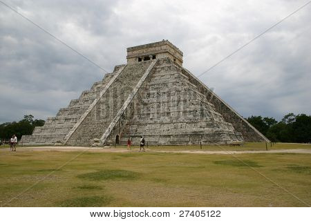 Main temple at Chichen Itza Mexico efore a storm